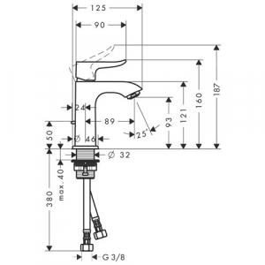 Baterie lavoar Hansgrohe Metris 100, ventil pop-up, crom1