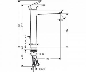 Baterie lavoar Hansgrohe Talis E 240, ventil pop-up, pentru lavoar tip bol, crom1