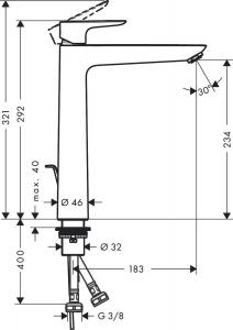 Baterie lavoar Hansgrohe Talis E 240, ventil pop-up, pentru lavoar tip bol, negru mat [1]