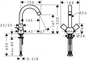 Baterie lavoar Hansgrohe Logis cu dubla-comanda, ventil pop-up [1]
