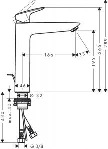Baterie lavoar Hansgrohe Logis 190, ventil pop-up, pentru lavoar tip bol2