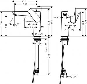 Baterie lavoar Hansgrohe Talis E 150, ventil pop-up [1]