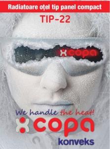 Radiator panou compact otel, Copa Konveks Tip 22 600 x 10001