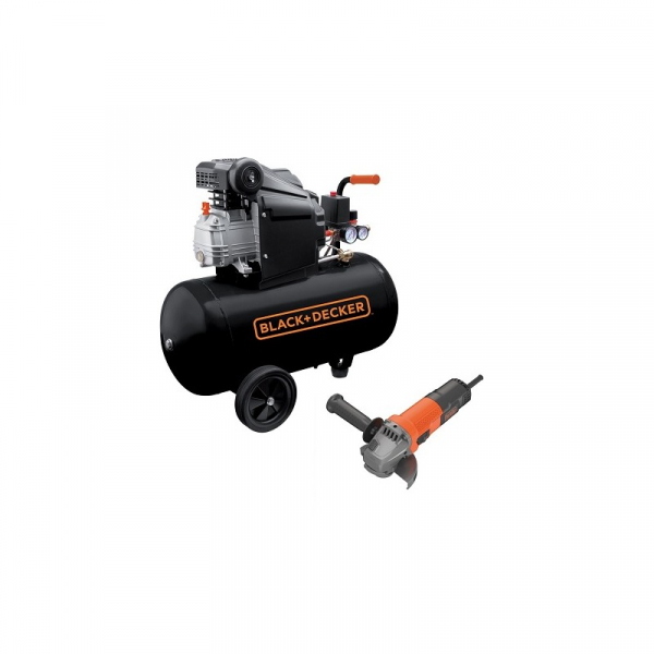 Compresor orizontal Black+Decker 50l, 2CP, 8bar, 210l/min + Polizor unghiular Black+Decker 750W 115mm – BD 205/50+BEG110 0