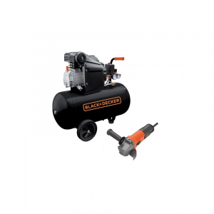 Compresor orizontal Black+Decker 50l, 2CP, 8bar, 210l/min + Polizor unghiular Black+Decker 750W 115mm – BD 205/50+BEG1100