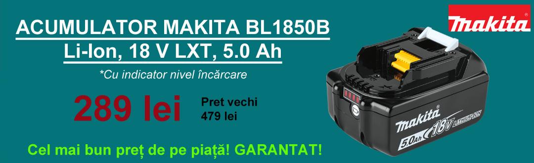 Acumulator Makita BL1850B Li-Ion, 18V LXT, 5.0Ah, cu indicator incarcare