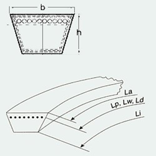 Curea trapezoidala Optibelt VB Z947 Ld / 10x925 Li / Z37 [1]