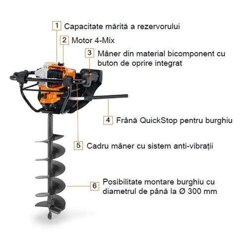 Motoburghiu Stihl BT 131, 36.3 cmc, 1.9 CP, max. 300 mm [3]