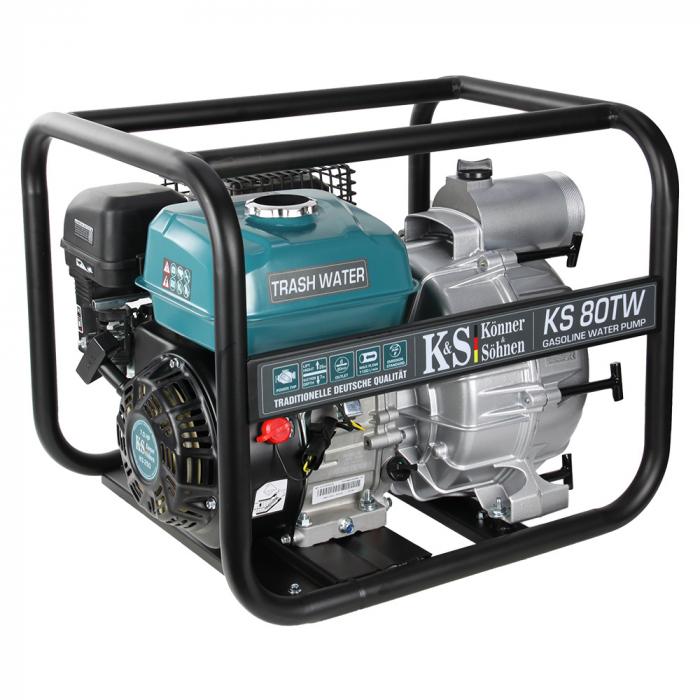 "Motopompa apa murdara Könner & Söhnen KS 80TW, 3"", 7 CP, benzina, 1100 l/min, Hmax. 26 m [0]"