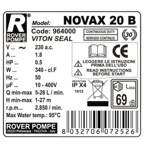 Pompa de transfer lichide fierbinti ROVER NOVAX 20 B, 340 W, 1700 L/h, max. 95°C [1]