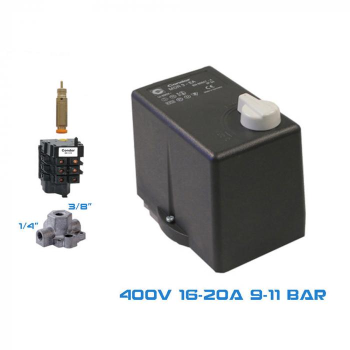 "Presostat compresor trifazat Condor MDR3, 20 A, 1 iesire 3/8"", 3 iesiri 1/4"", 11 bar [0]"