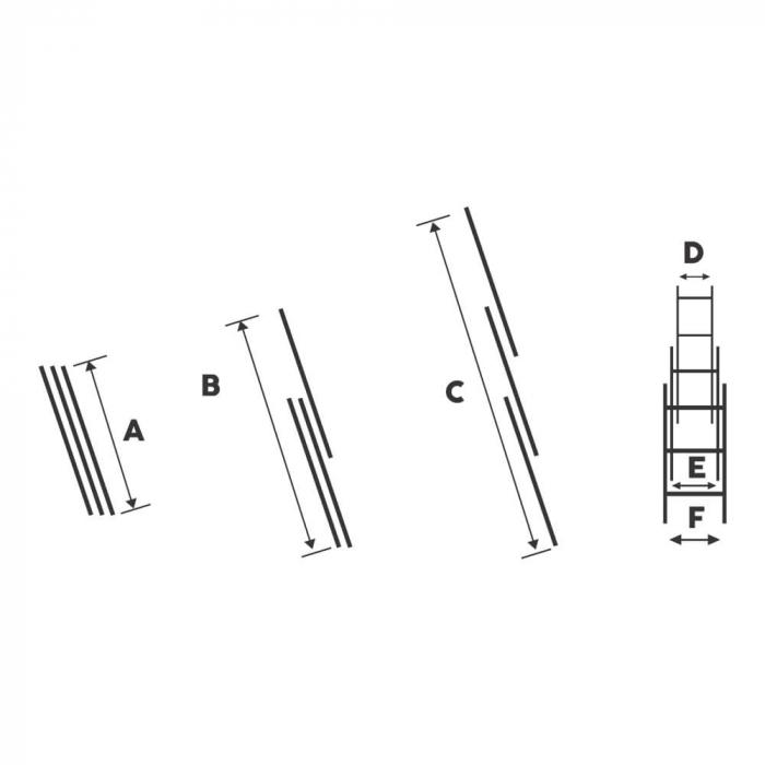 Scara tripla aluminiu Bisonte STR315, 15 trepte, 10.9 m 3