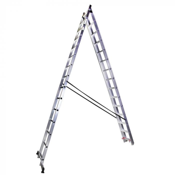 Scara tripla aluminiu Bisonte STR315, 15 trepte, 10.9 m 2