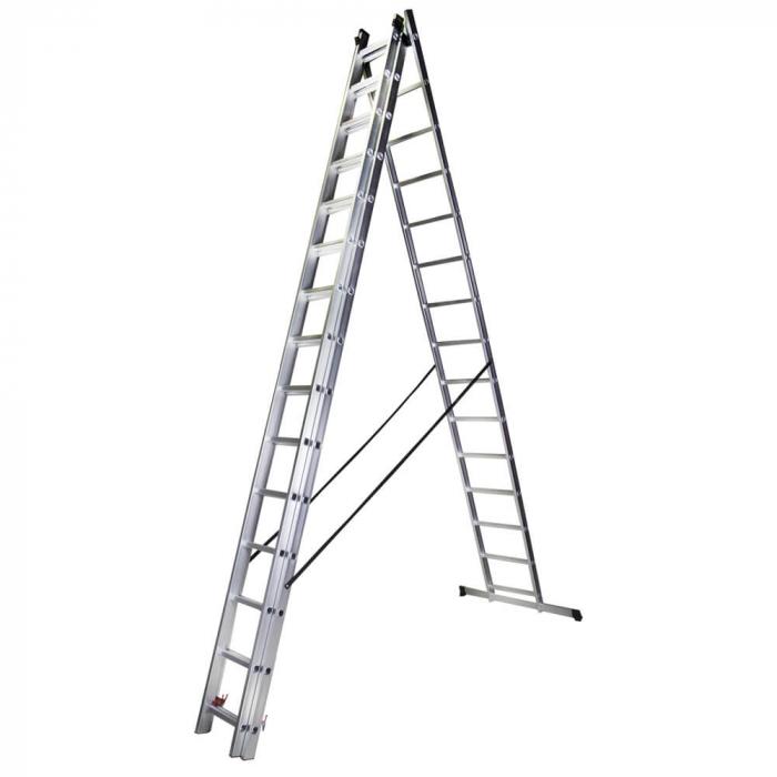 Scara tripla aluminiu Bisonte STR315, 15 trepte, 10.9 m 1
