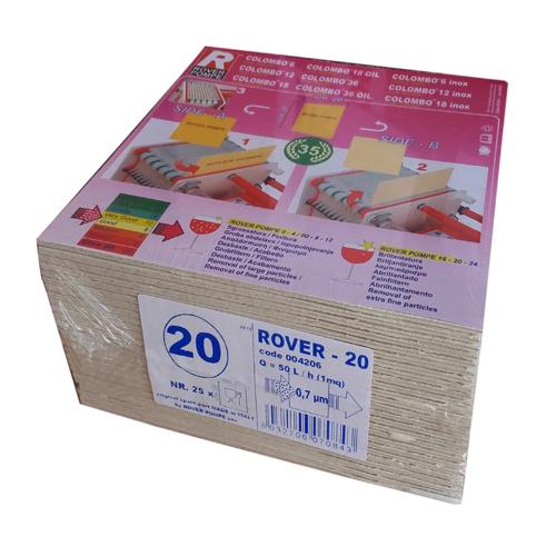 Set 25 placi filtrante 20x20 cm ROVER 20, filtrare fina [0]