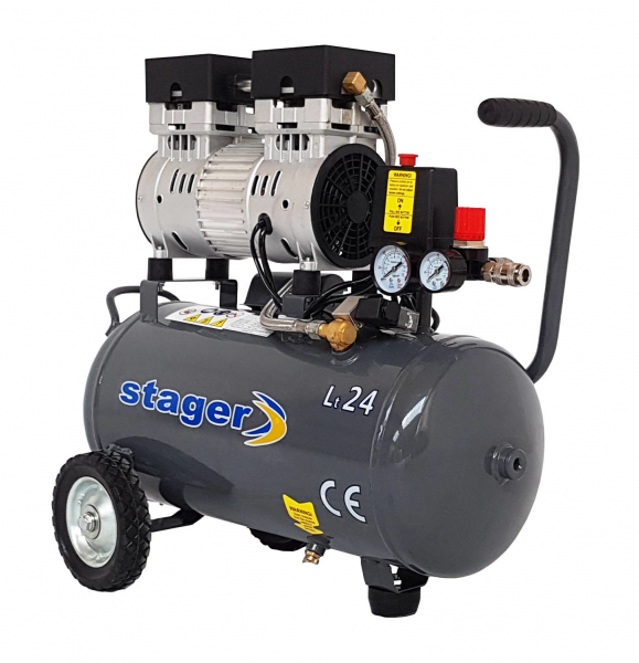 Compresor fara ulei Stager HM0.75JW/24, 24 L, 8 bar, 165 l/min, 1 CP, monofazat 0