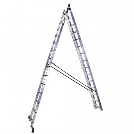 Scara tripla aluminiu Bisonte STR315, 15 trepte, 10.9 m2
