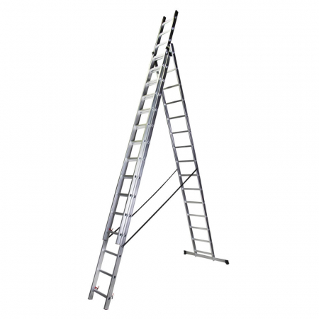 Scara tripla aluminiu Bisonte STR315, 15 trepte, 10.9 m0