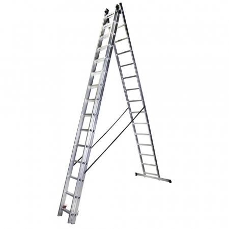 Scara tripla aluminiu Bisonte STR315, 15 trepte, 10.9 m1
