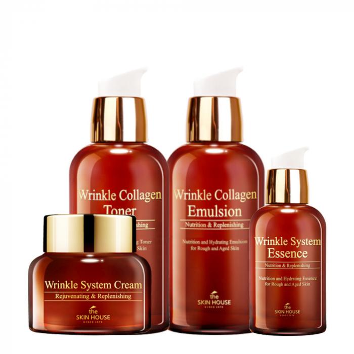 Set Antirid cu Colagen in 4 pasi The Skin House Wrinkle System Collagen Toner, Ser 50ml, Emulsie si Crema de Fata 50ml [0]