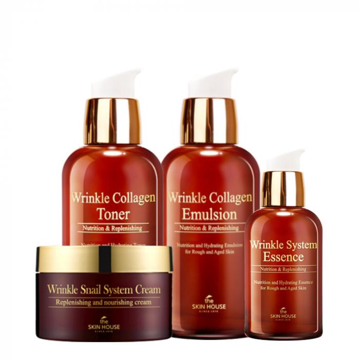Set Antirid cu Colagen in 4 pasi The Skin House Wrinkle System Collagen Toner, Esenta 50ml, Emulsie si Crema de Fata Snail 100ml [0]