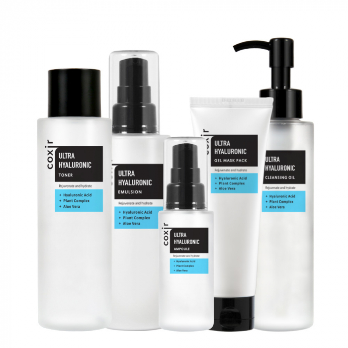 Set Hidratant in 5 pasi Coxir Ultra Hyaluronic Ulei de Curatare, Toner, Ser, Emulsie si Masca pentru Fata [0]