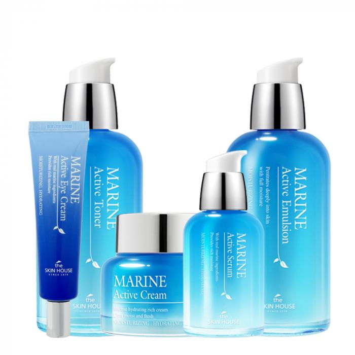 Set Hidratant in 5 pasi The Skin House Marine Active Toner, Ser, Emulsie, Crema de Fata si Crema pentru Ochi [0]