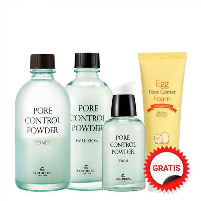 Set pentru Pori Dilatati in 4 pasi The Skin House Pore Control Powder Toner, Ser, Emulsie si Spuma de Curatare Egg Pore Corset Foam Gratuita! [0]
