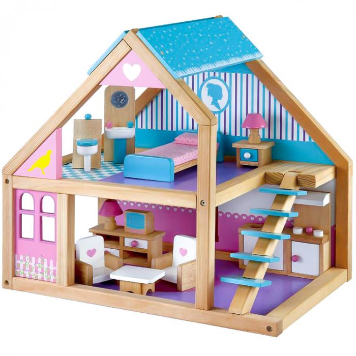 Casa de papusi din lemn cu mobilier, roz-albastru, Mentari [0]