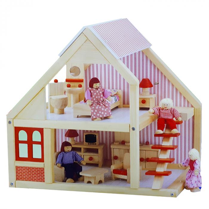 Casa de papusi din lemn cu mobilier, natur-rosu, Mentari [0]