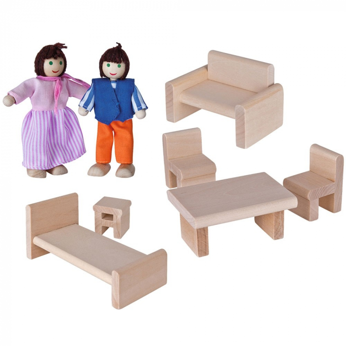 Casa de papusi din lemn cu mobilier si papusi, Eichhorn [1]