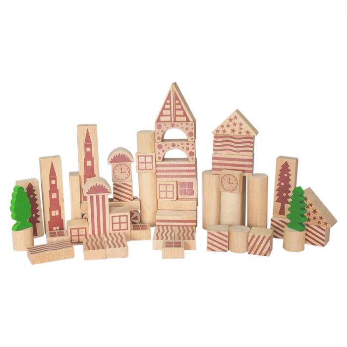 Cuburi de constructie din lemn natur cu model 100 bucati [0]