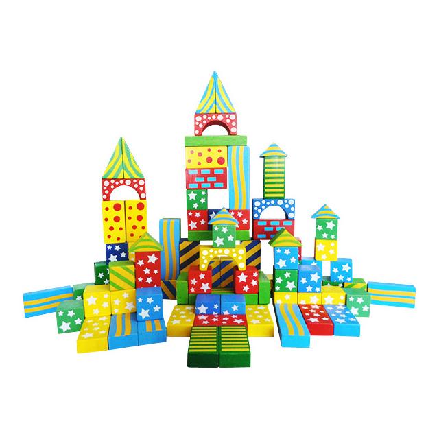Cuburi de construit colorat cu model, din lemn 100 de piese [0]
