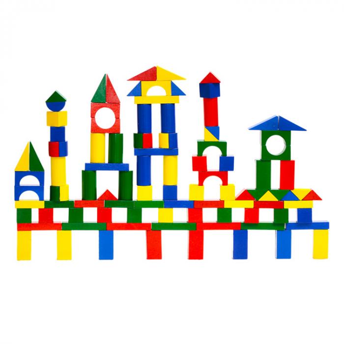 Cuburi de construit colorat din lemn 100 de piese [1]