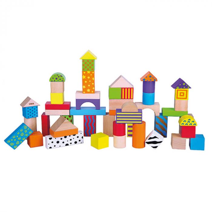 Cuburi de construit din lemn 50 bucati (color) [0]