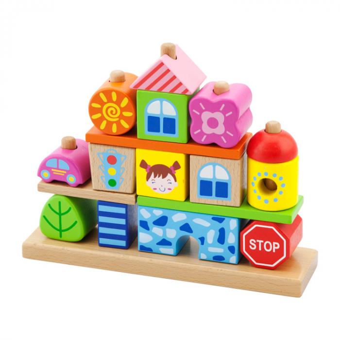 Cuburi de construit din lemn orasel Montessori [0]