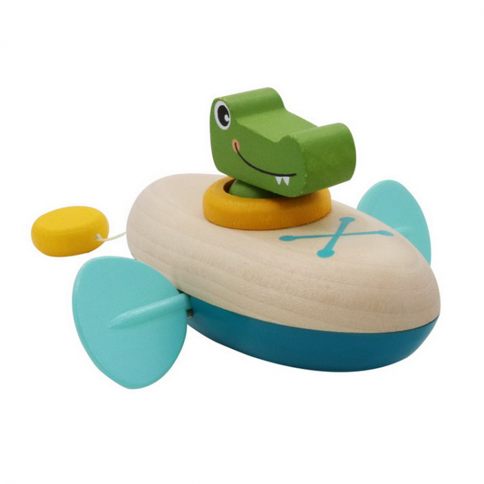 Jucarie de baie cu motoras cu volanta mini crocodil in canoe [0]