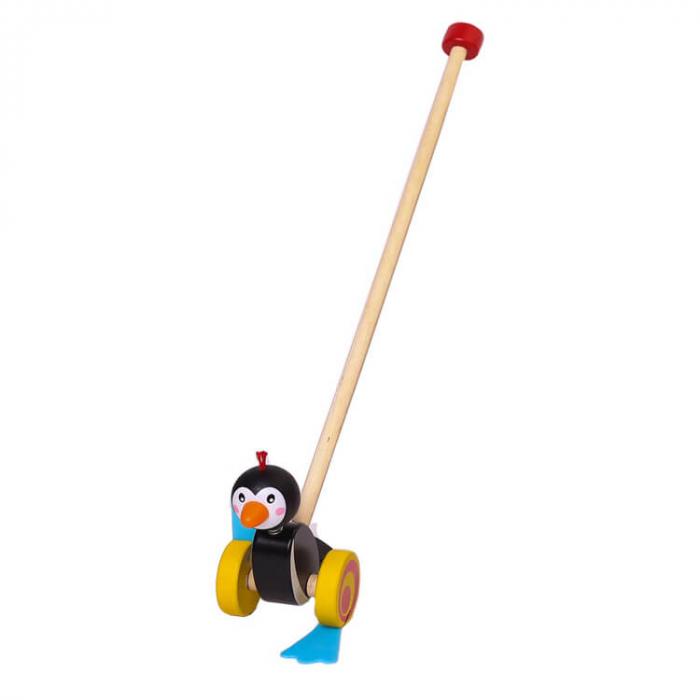 Jucărie de împins pinguinul din lemn [0]