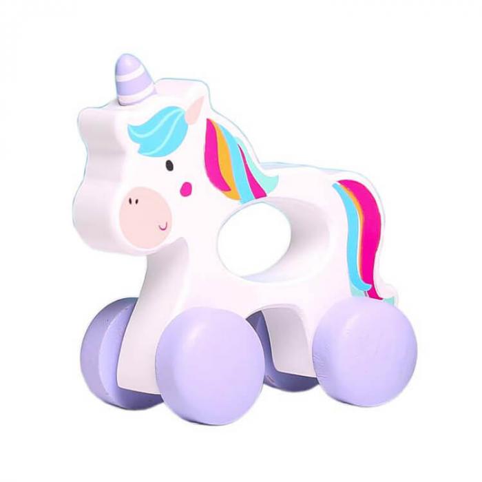 Jucarie de impins unicorn alb mic [0]