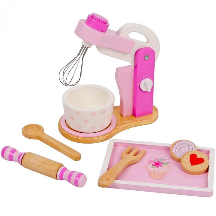 Jucarie mixer din lemn cu accesorii (roz), Mentari [0]
