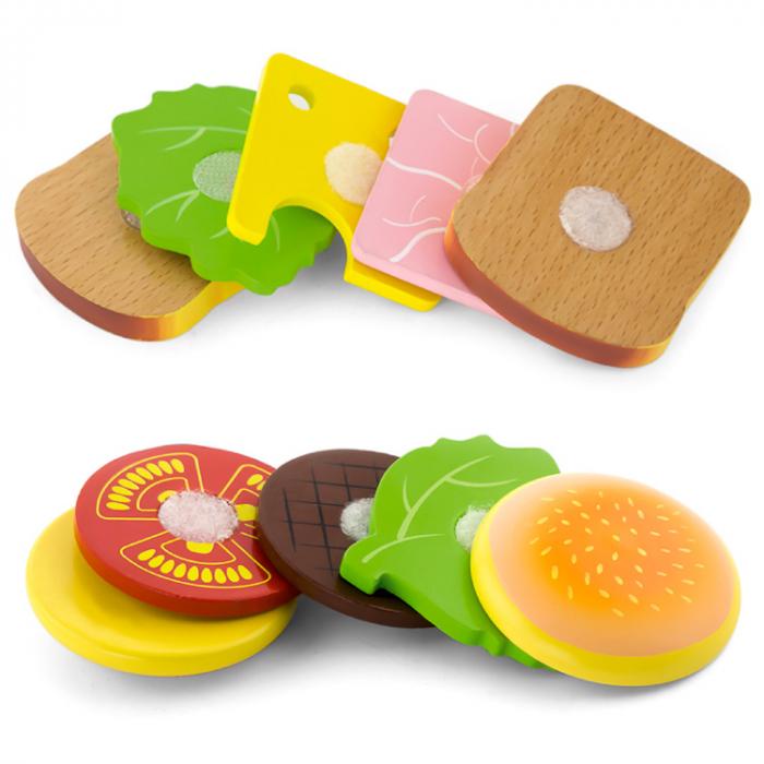 Jucarie set hamburger si sandwich din lemn [1]