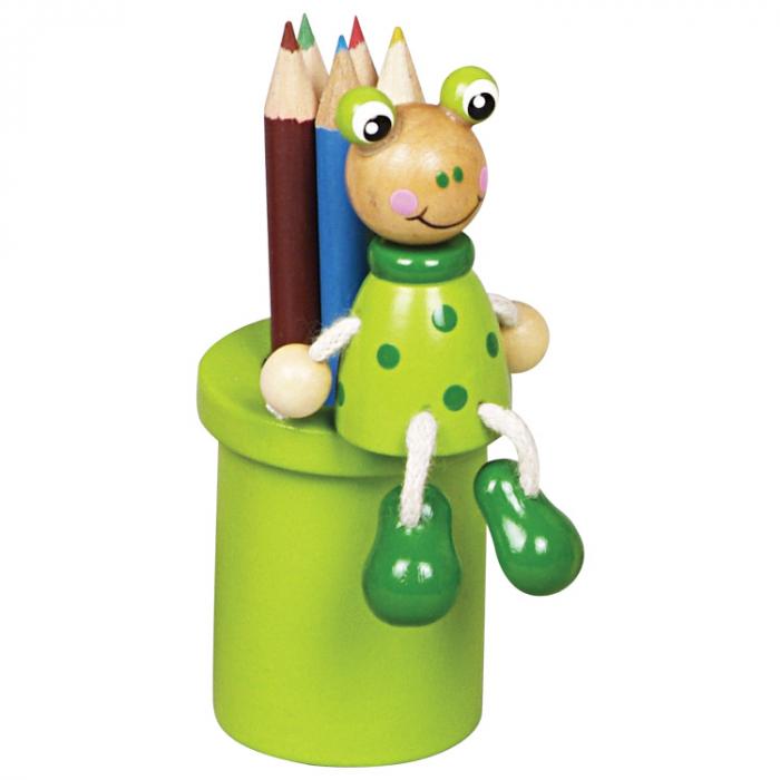 Suport creioane din lemn cu 1 set de creioane colorate - broscuta [0]