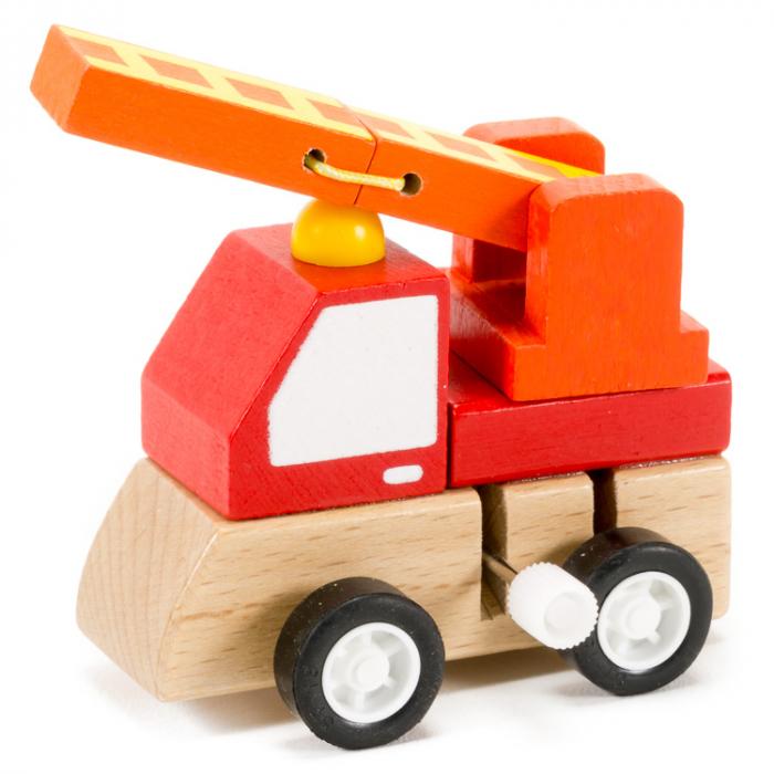 Masinuta de pompieri mica din lemn cu propulsie [0]