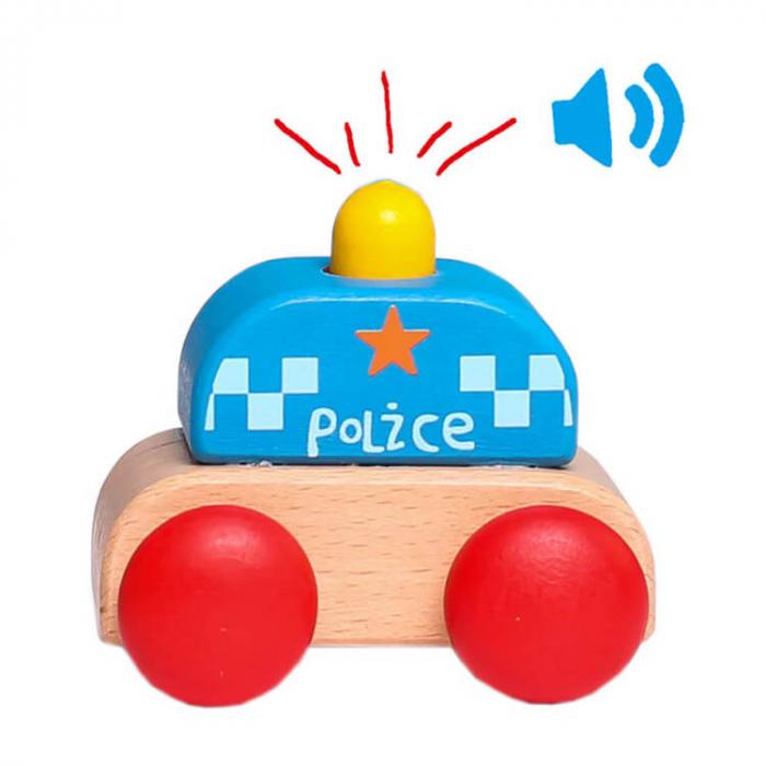 Maşinuţă mică de poliţie din lemn cu sirenă [0]