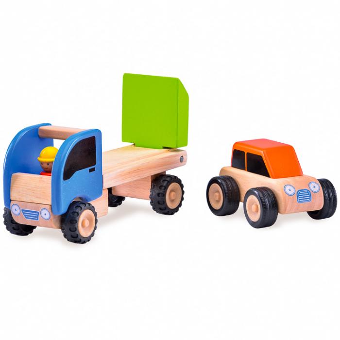 Minitrailer din lemn cu masinuta [1]