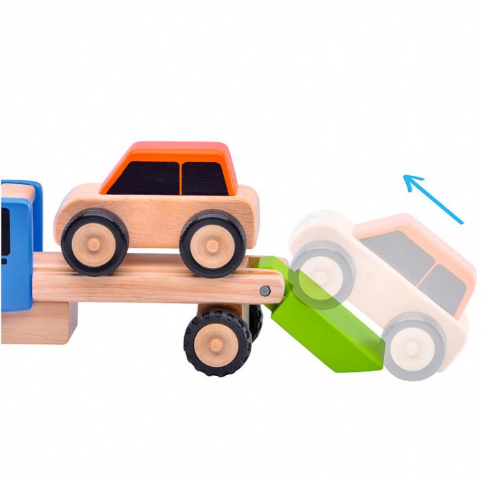 Minitrailer din lemn cu masinuta [3]