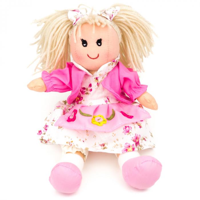 Papusa textil (fetita, roz, 25 cm) [0]