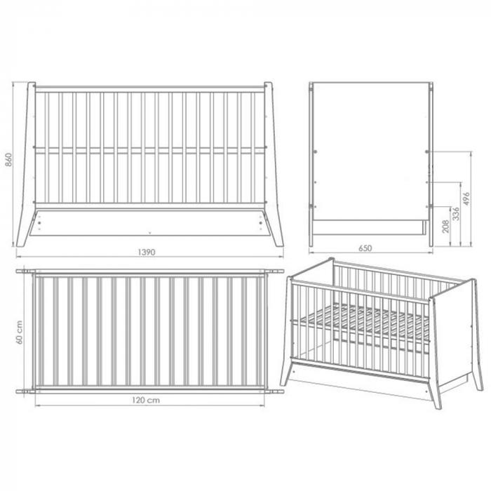 Patut copii din lemn Cosmo 120x60 cm alb cu sertar [2]