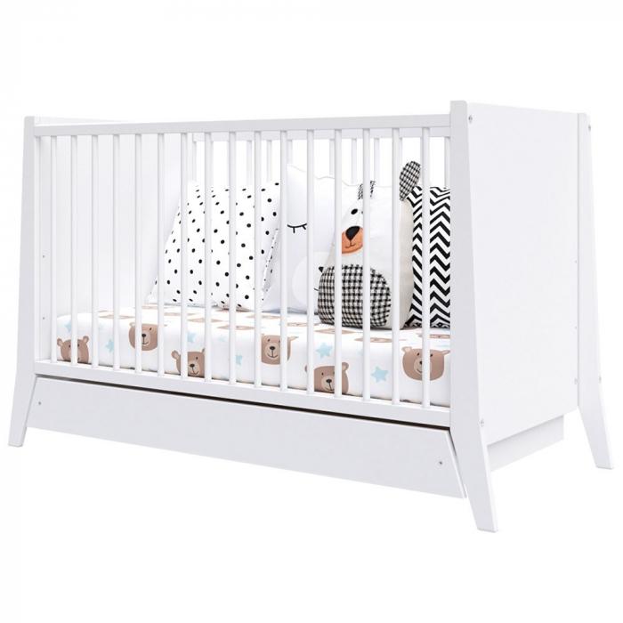 Patut copii din lemn Cosmo 120x60 cm alb cu sertar [1]