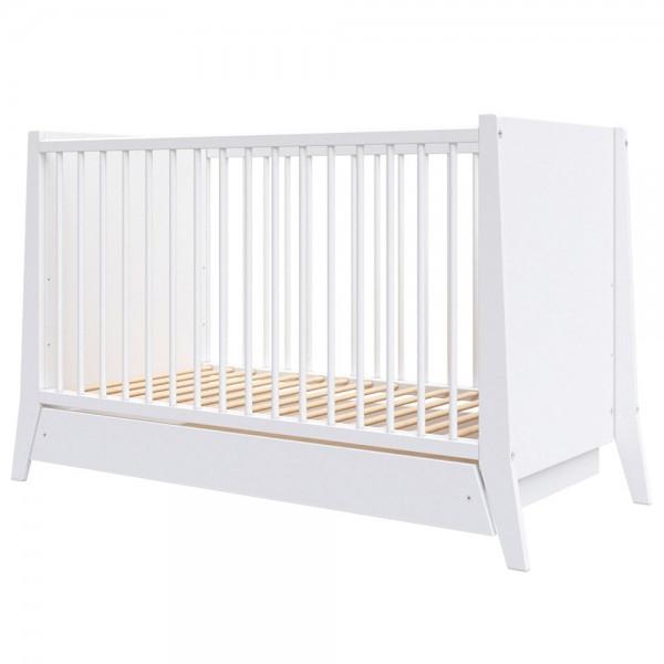 Patut copii din lemn Cosmo 120x60 cm alb cu sertar [0]
